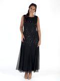 Black Swirl & Stripe Beaded Mesh Sleeveless Dress