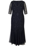 Navy Sequin & Pearl Beaded 3/4 Sleeve V-Neck Mesh Dress
