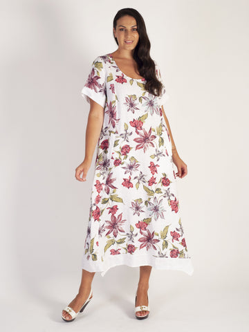 White/Red Multi Floral Fit & Flare Contrast Hem Dress