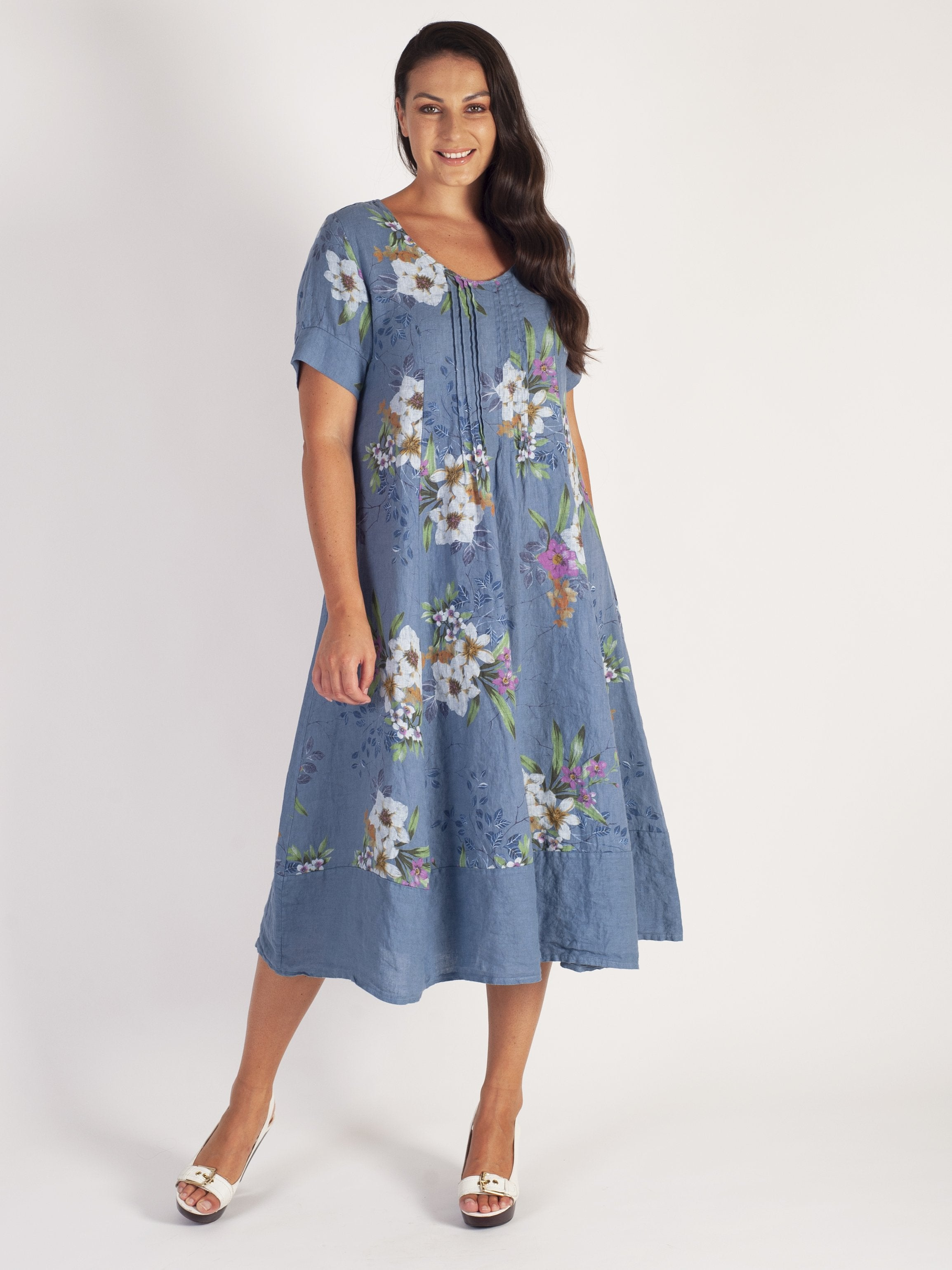Japanese Floral Pintuck Detail Linen Dress