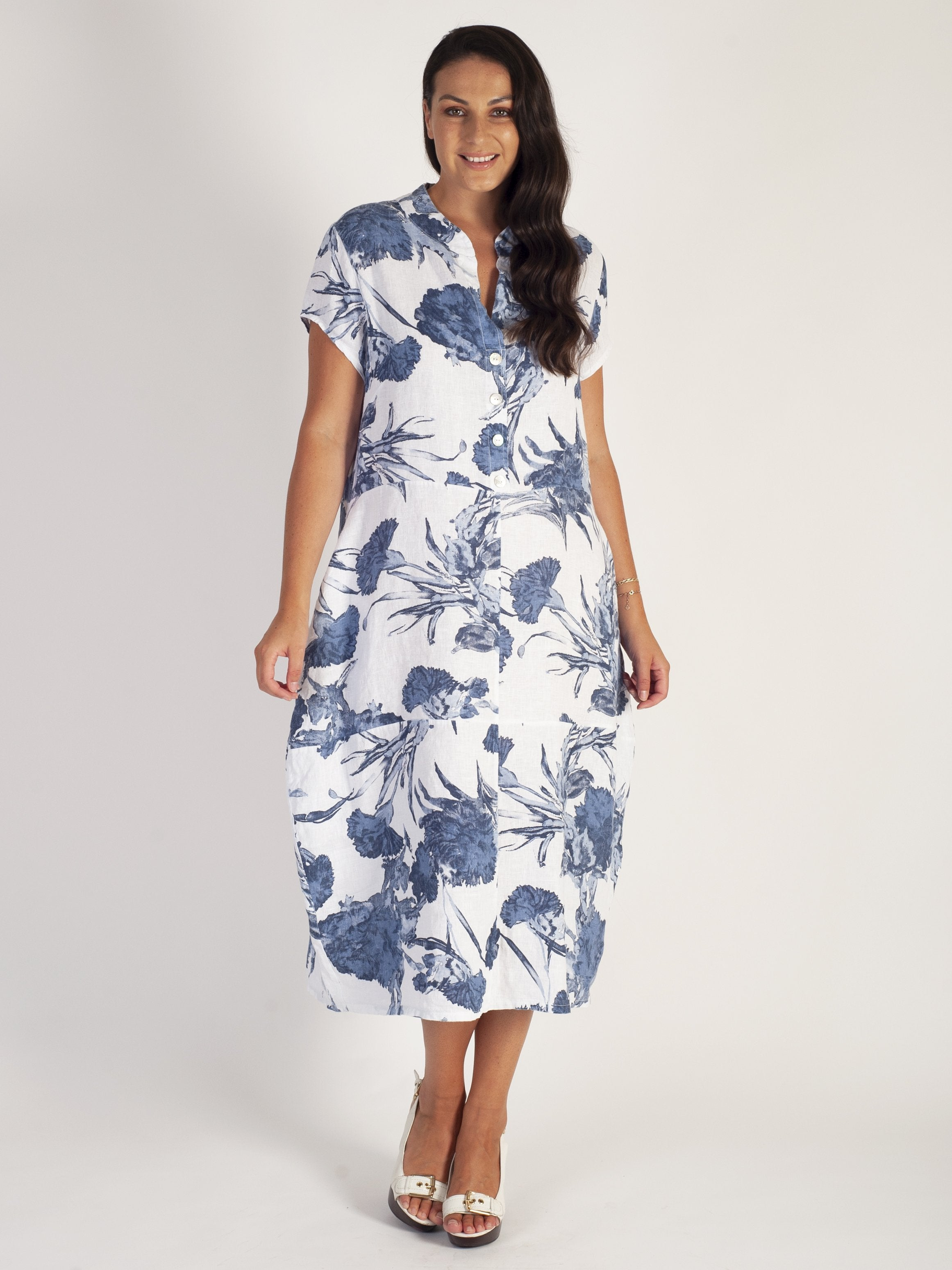 White/Denim Carnation Floral Barrel Linen Dress