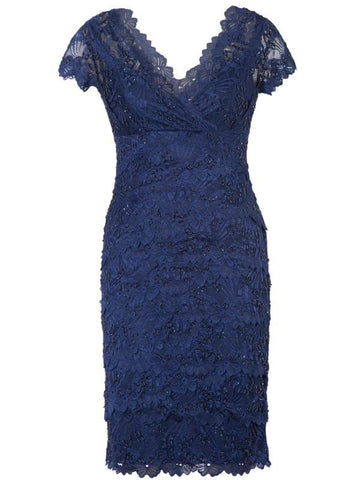 Navy Layered Scallop Lace Dress With Navy Lining