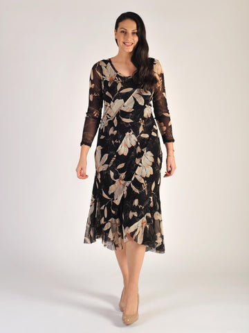Black Magnolia Floral Curved Panel Long Sleeve Mesh Dress