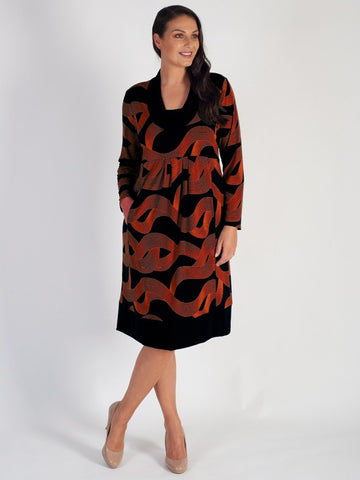 Black/Orange Swirl/Stripe Printed Jersey Dress with Plain Trim - Pre Order 20th September