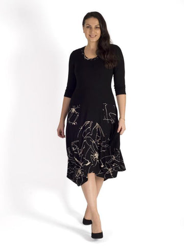 Black Pocket Detail Plain & Contrast Splatter Print Jersey Drape Dress