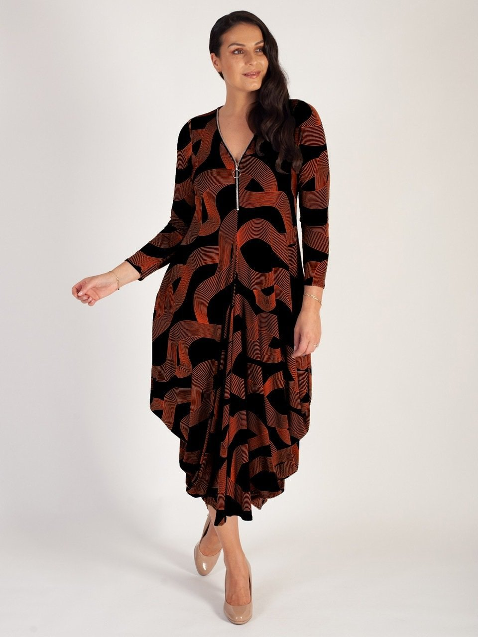 Black/Orange Swirl/Stripe Zip Detail Jersey Drape Dress