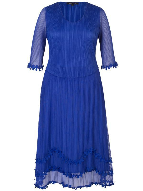Cobalt Mock Layer Daisy Chain Trim Crush Pleat Mesh Dress