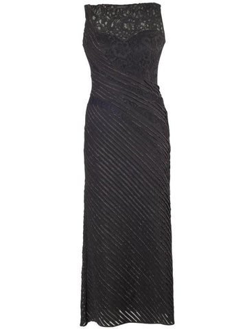 Black Lurex Tipped Fancy Jersey Dress