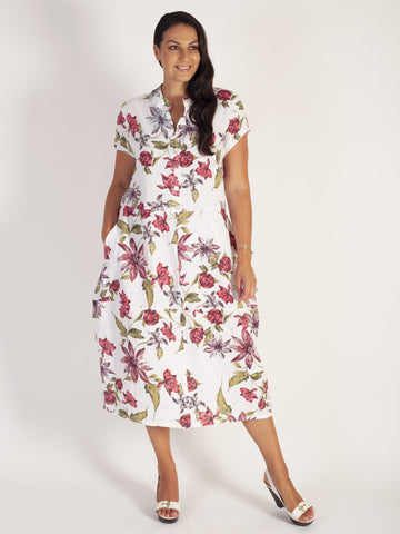 White/Red Multi Floral Barrel Linen Dress