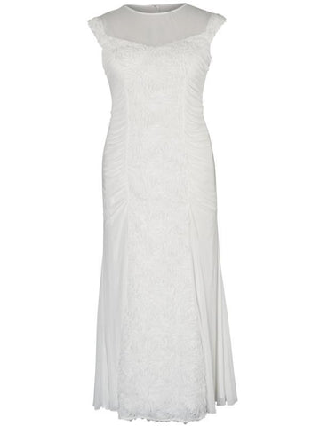Ivory Floral/Beaded Panel Mesh Long Dress