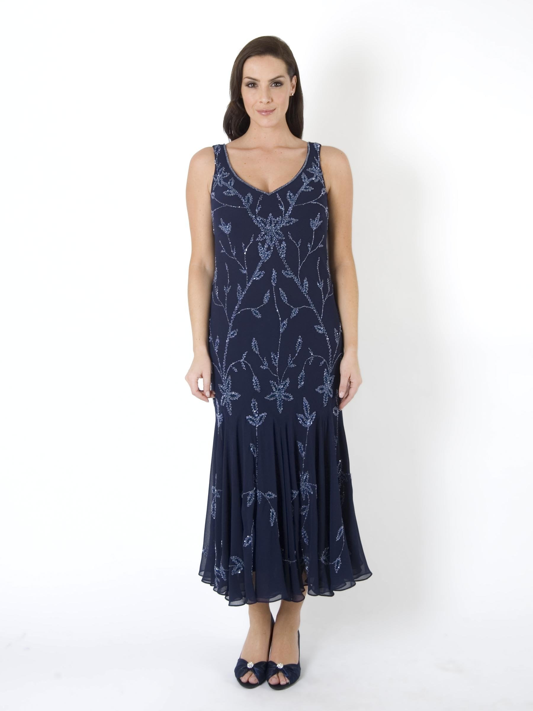 Women's Navy/Lilac Allover Beaded Dress