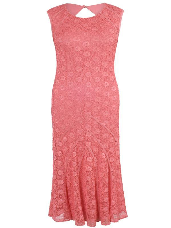 Coral Daisy Stretch Lace Cathedral Detail Dress