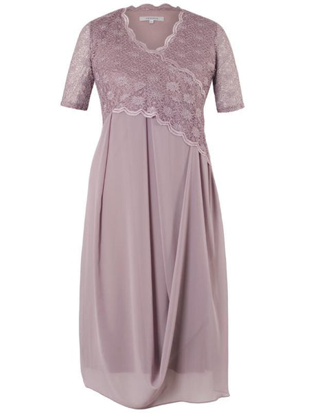 Dark Lavender Scallop Lace Lined Chiffon Drape Dress