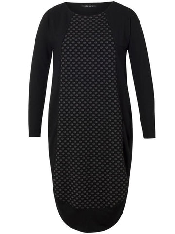 Black Dot Jacquard Jersey Dress