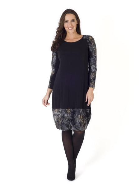 Black Flock Print Jersey Trim Dress