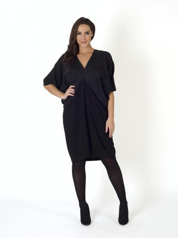 Black Tencel and crepe dress