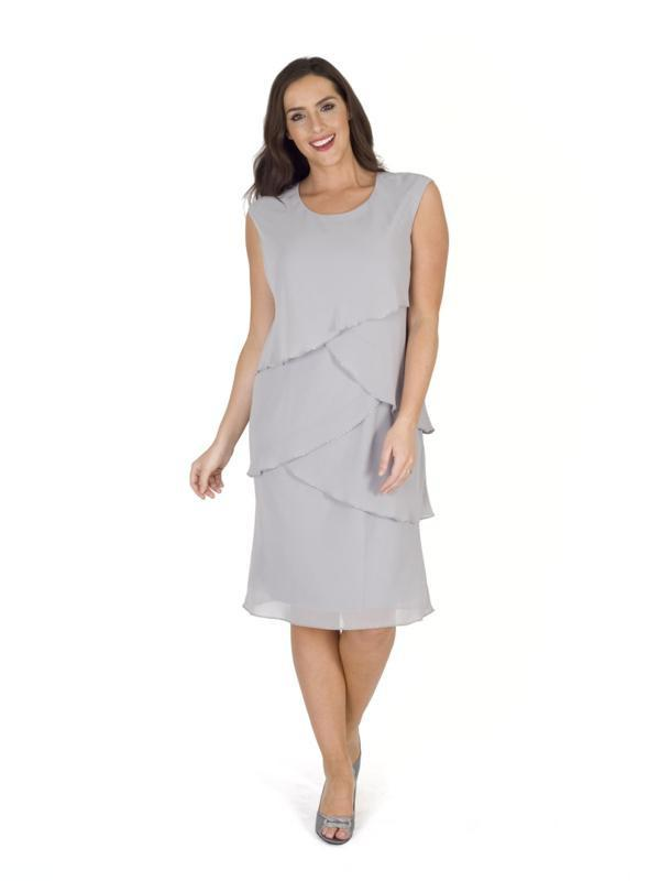 Grey Bead Trim Layered Chiffon Dress
