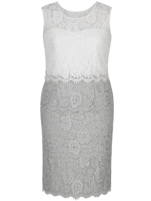 Grey/Ivory Bodice Scallop Layered Lace Dress Pre order (Delivery due - Mid April)