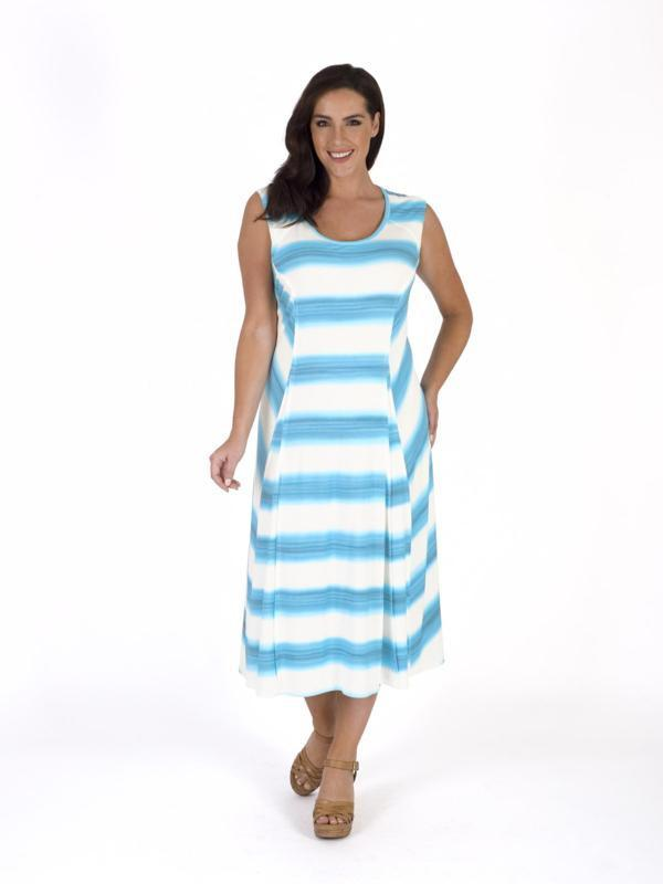 White/Turquoise Ombre Stripe Chevron Jersey Dress