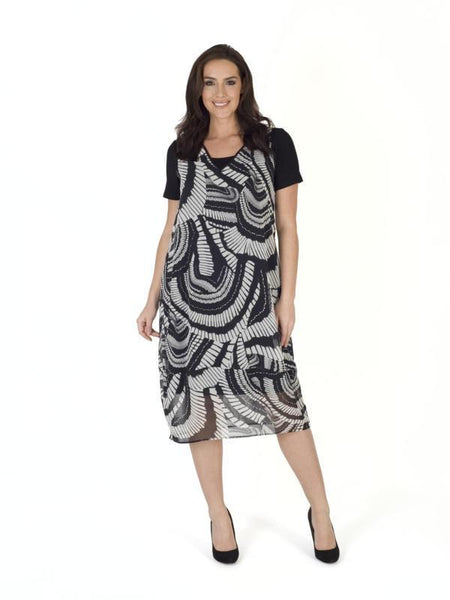 Black/White Short Sleeve Printed Dress
