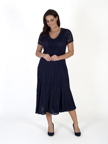 Navy Border Lace Crush Pleat Dress