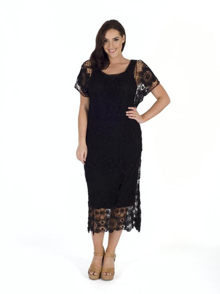 Black Crochet Dress With Lining Chesca