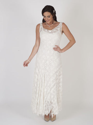 Ivory Stretch Lace Cinderella Bead Trim Dress
