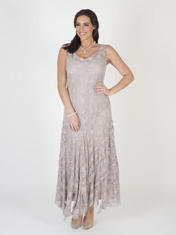 Pale Mink Stretch Lace Cinderella Bead Trim Dress