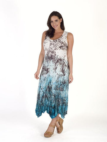 Ivory/Turquoise Printed Ombre Crush Pleat Dress