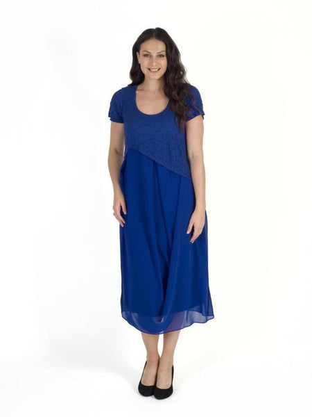 Cobalt Bubble Bodice Chiffon Drape Dress