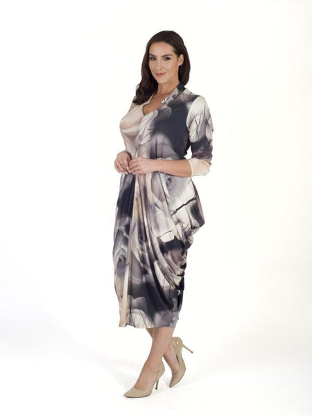 Grey/Nude Misty Rose Notch Neck Jersey Dress