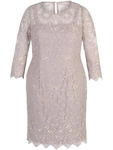 Lilac Scallop Allover Embroidered Long Sleeve Dress