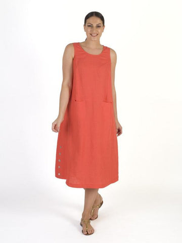 Orange Button Trim Linen Dress
