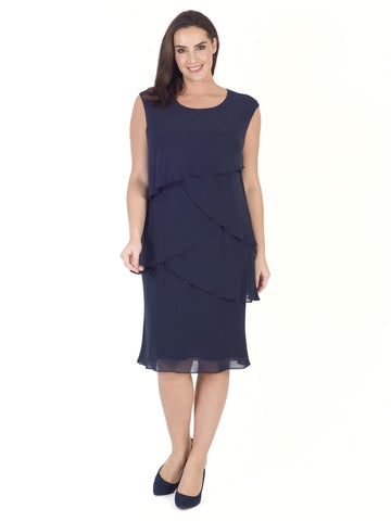 Dark Navy Multi Layered Chiffon Dress