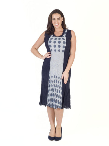 Navy & Ivory Spot Trim Crush Pleat Dress
