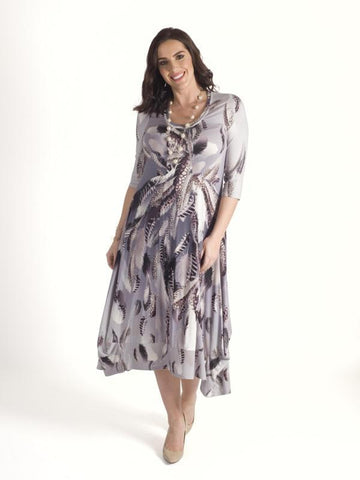 Silver Grey Feather Print Jersey Dress