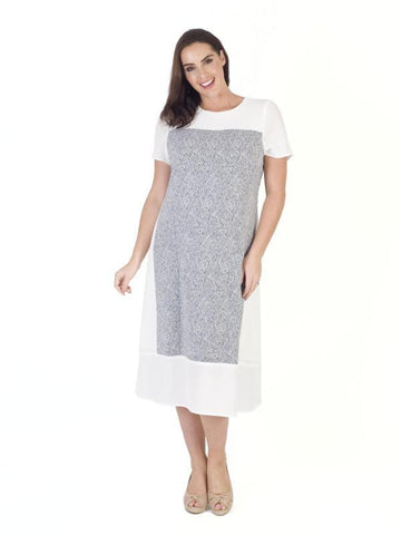 Ivory/Navy Print & Plain Crepe Dress