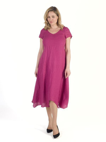 Raspberry Linen Dress with Assymetric hem