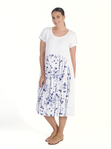 White/Royal Dotty Panel Linen Dress