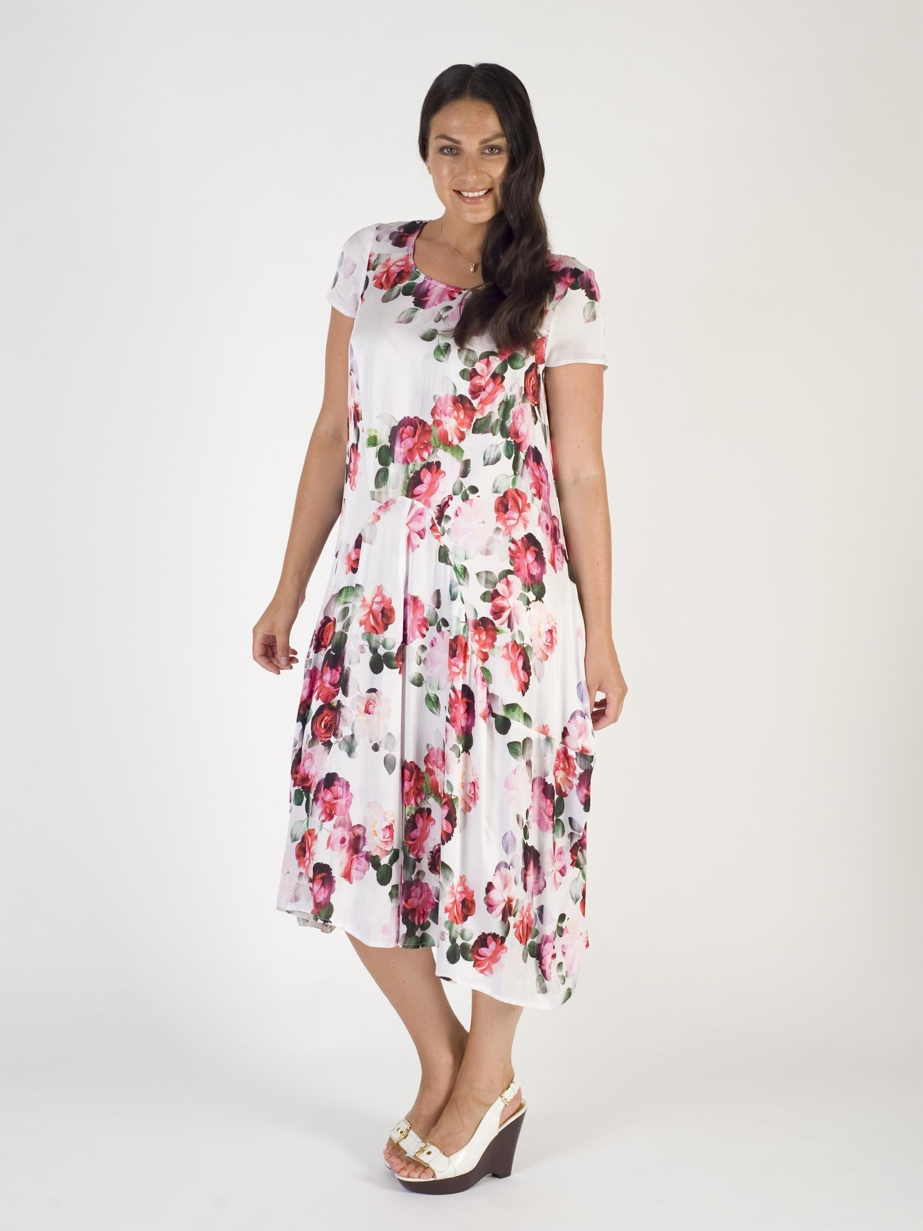 White Floral Print Satin Dress