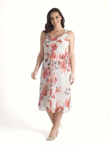 Silver Grey/Coral Abstract Floral Chiffon Dress