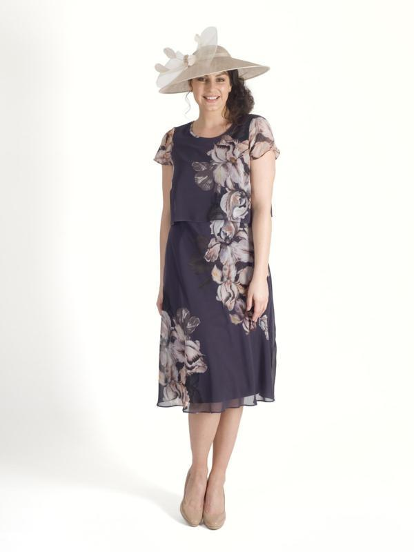 Hyacinth Iris Floral Print Layered Chiffon Dress