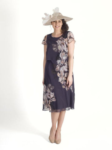 Hyacinth Iris Floral Print Layered Chiffon Dress - LIMITED STOCK NEW DELIVERY DUE IN 5th July