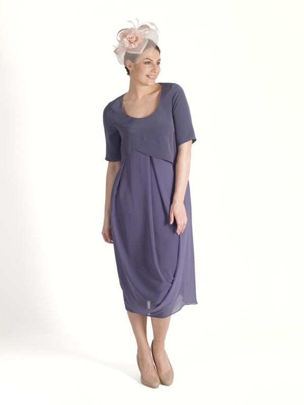 Lavender Satin Back Crepe Bodice Chiffon Drape Dress - Limited Stock / Call Only