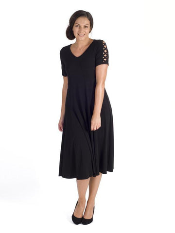 Black Criss Cross Sleeve Godet Panel Jersey Dress