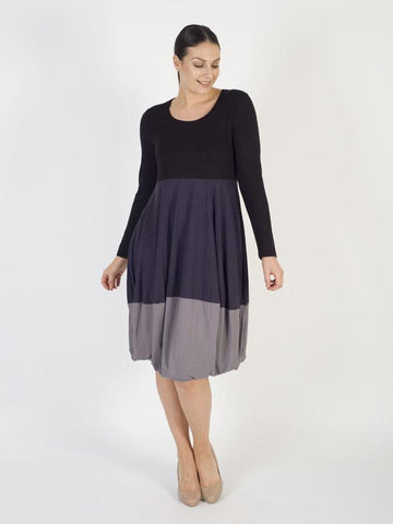Black/Charcoal/Mushroom Panelled Long Sleeve Dress