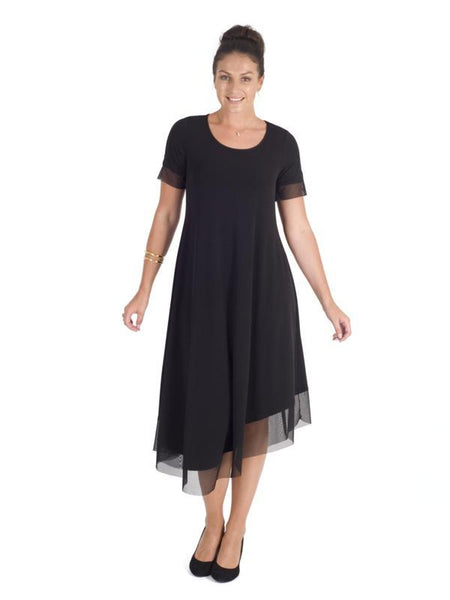 Black Asymmetric Hem Mesh Trim Short Sleeve Jersey Dress
