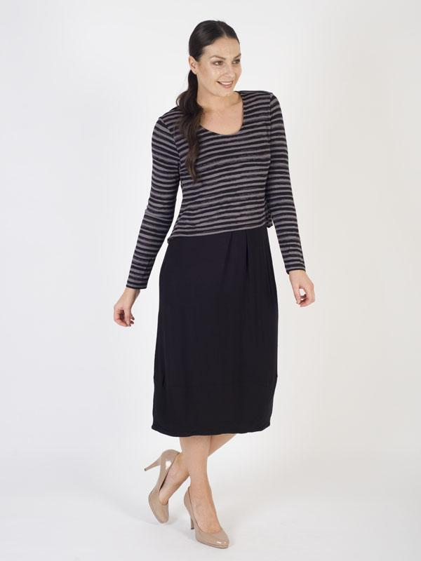 Black/Mushroom Top Stripe Layered Cocoon Dress