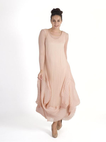 Peach Chiffon Crush Pleat Flounce Trim Dress
