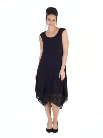 Black Squares Mesh Hem & Jersey Dress